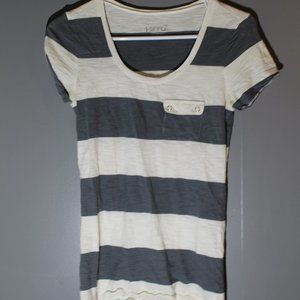 Kirra Womens Small White and Grey Stripped Top